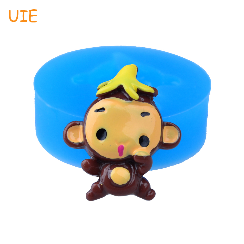 DYL367U 28,6 мм ребенок обезьяна с банан силиконовые формы-животного формы украшения торта ювелирная смола помады, еда безопасный, мыло формы