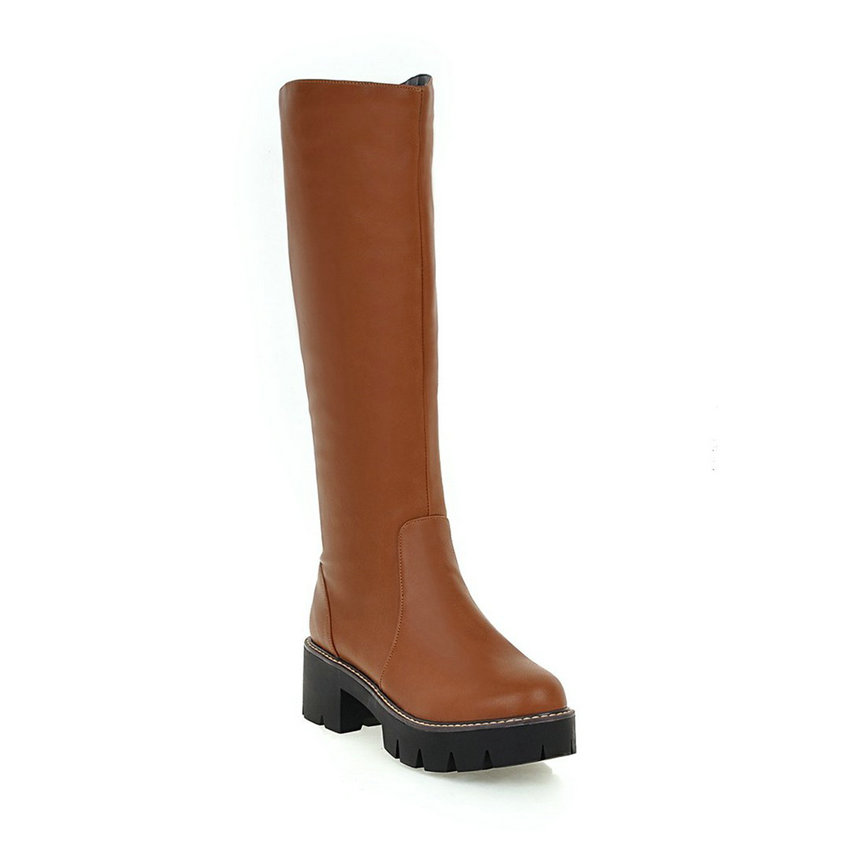 ФОТО 2016 Punk  Autumn Square Heel Shoes Women Knee High Boots Round Toe  Fashion Boots Chunky Heel  Riding Boots Size 34-43