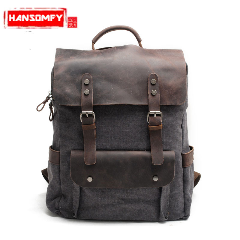 Retro Canvas Men backpack Shoulder Bag Neutral Academy Wind students Bags Cotton Canvas with Leather school Bag travel Backpacks fopati newest canvas backpack tide college men and women bags middle school students shoulder bag casual travel bag