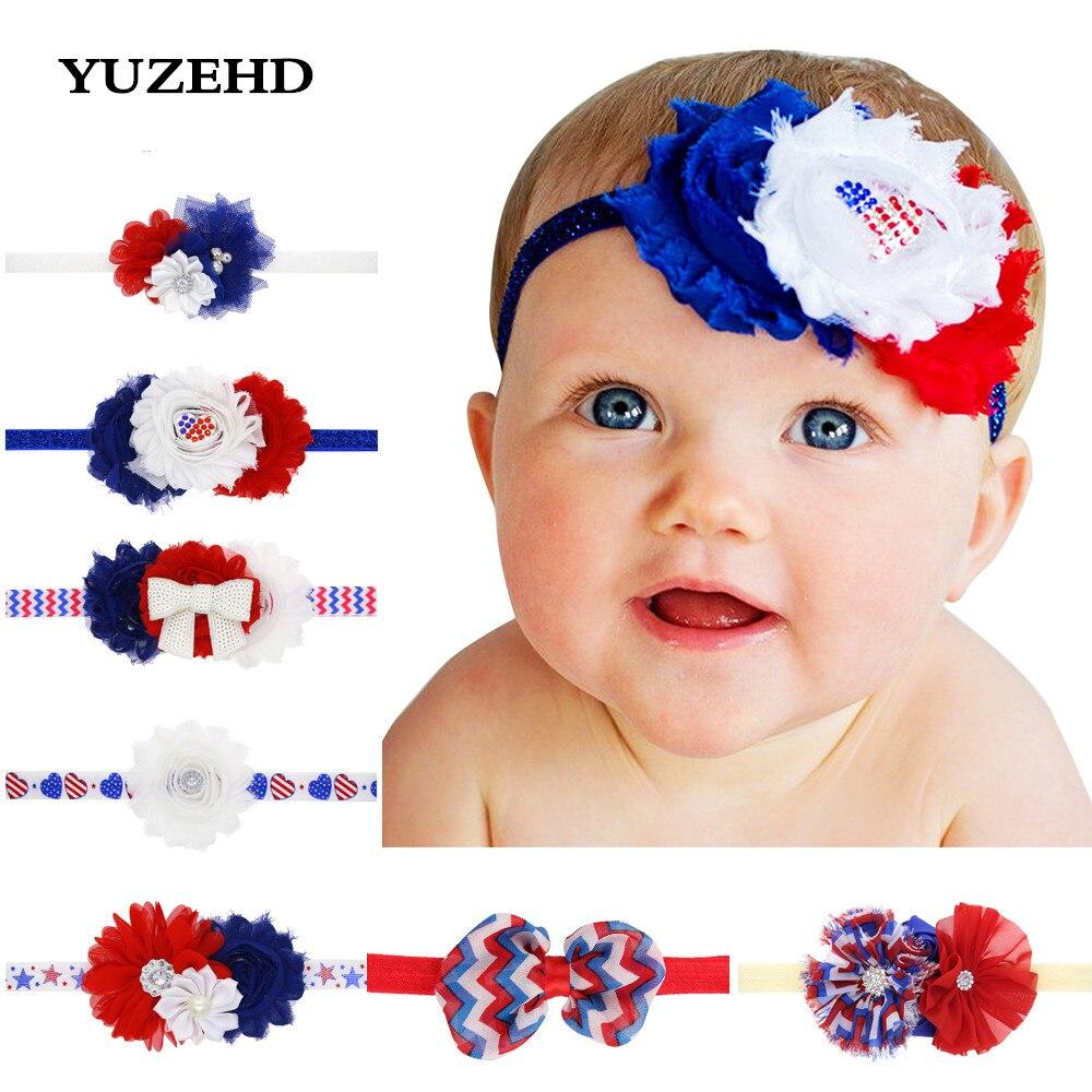 Yuzehd 4th июля heaband шифон цветы DIY ободки детей аксессуары для волос для девочек повязка на голову 10 шт./лот ...