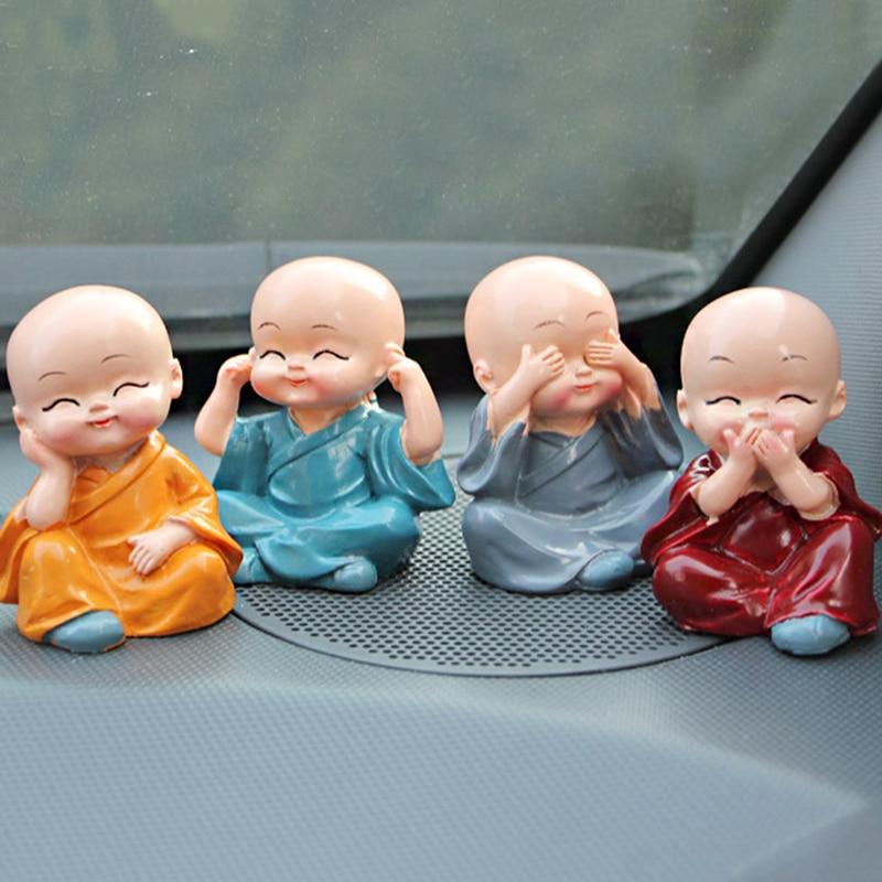 4Pcs Set Lovely Car Interior Accessories Doll creative Maitreya resin gifts little monks Buddha Kung Fu