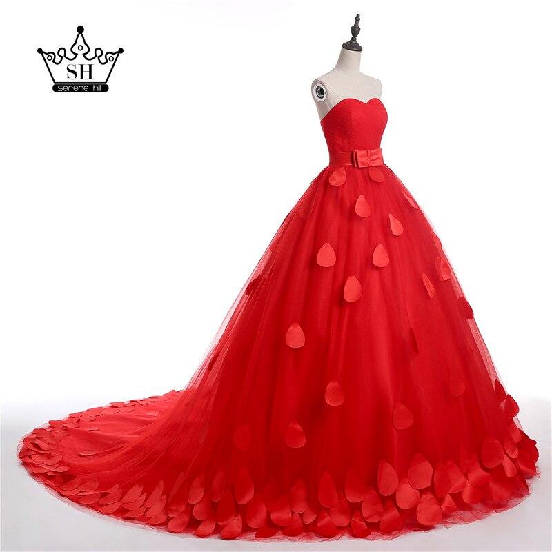 In stock dress royal red new flower wedding dresses sexy for In stock wedding dresses