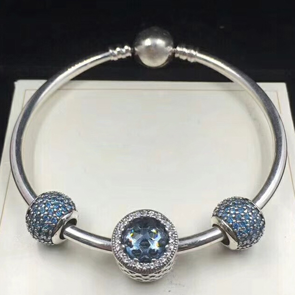 NEW 100% 925 Sterling Silver 791051NCB Blue Pave Ball Charm791725NMB MIDNIGHT BLUE RADIANT HEARTS CHARM Bracelet SetNEW 100% 925 Sterling Silver 791051NCB Blue Pave Ball Charm791725NMB MIDNIGHT BLUE RADIANT HEARTS CHARM Bracelet Set