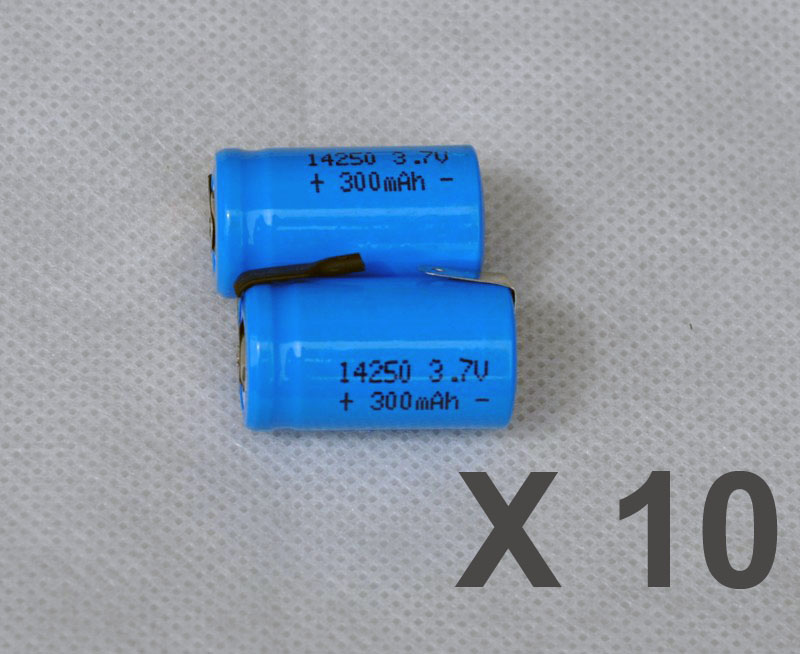 10PCS 3.7V <font><b>14250</b></font> li-ion <font><b>rechargeable</b></font> battery 300mah lithium ion li-ion cell with welding tab pins flat top image