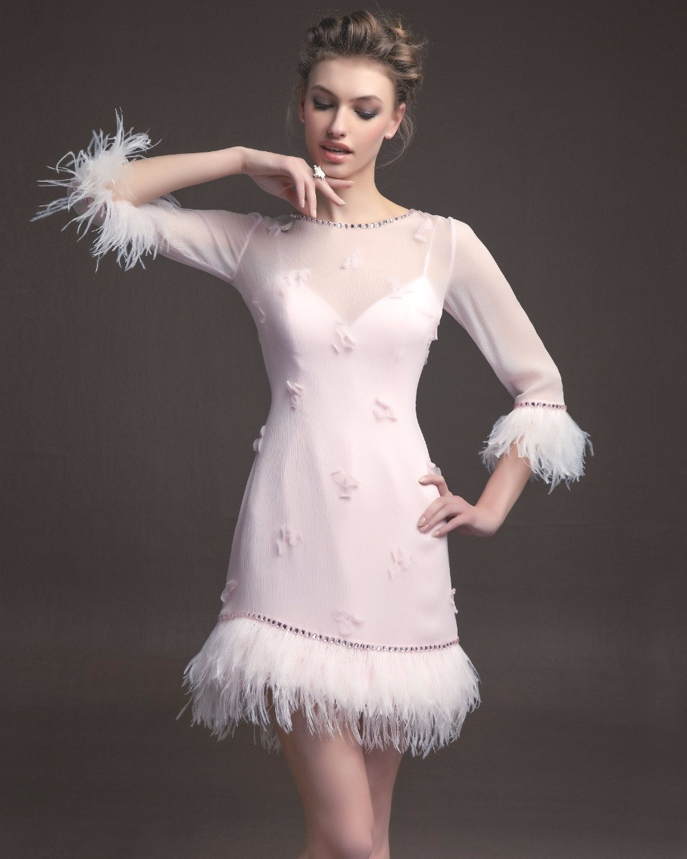 MZYC0013-three-quarter-sleeve-beaded-feather-cocktail-dresses-2015-vestidos-de-coctel-pink-feather-dress