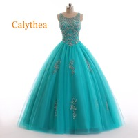 Real photos Luxury Green Quinceanera Dresses 2019 Calythea Gorgeous Turquoise Beaded Backless Pageant Ball Gown vestido de festa