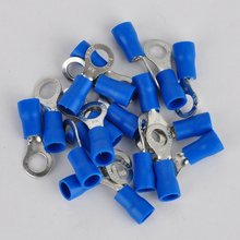 20pcs RV 2-5S Isolati A Crimpare Connettore Anello Blu Elettrico Crimp Terminal Cavo di Legare del Connettore 14- 16 AWG(China)