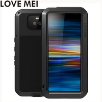 Love Mei Powerful Phone Fundas For Sony Xperia 10 Plus Xperia10 Heavy Duty Shockproof Case Silicone Metal Cover Toughened Glass