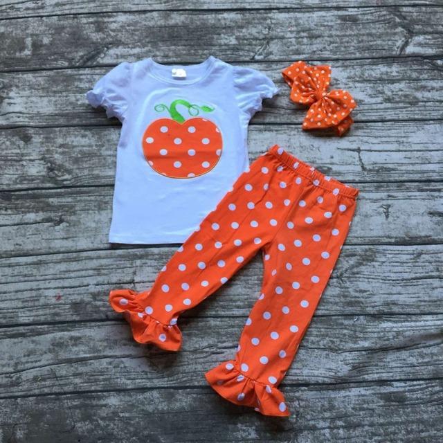 Meninas roupas boutique halloween outfits meninas roupa do dia das bruxas abóbora orange com branco polka dot ruffle pant withheadband