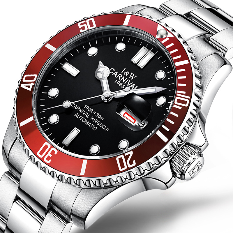 Brand Luxury CARNIVAL Watch Men GMT Automatic Mechanical Men Watches Luminous Sapphire Stainless Steel Diving Mens Watch C-87567 2017 carnival luxury brand mechanical watch women leather bracelet waterproof sapphire mirror stainless steel automatic watches