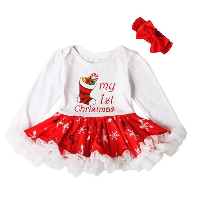 e007bf6a6866 Newborn my 1st Christmas Baby Girls Dress Festive Princess Dresses Cute  Christmas Stocking Pattern Clothes Baby