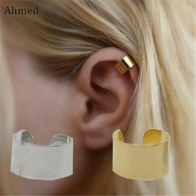 Ahmed Gold Silver Color Simple Alloy Stud Earrings For Women Fashion Charm Vintage Brinco Bijouterie Femme Ear Clip Jewelry