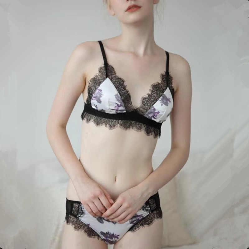 JYF New Ultra-thin In Ấn Phụ Nữ Đồ Lót Sexy Ren Lông Mi Áo Ngực Đặt Dây Miễn Phí Màu Hồng Cô Gái Mềm Áo Ngực Mùa Hè ngủ Pháp Đồ Lót