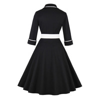 Sisjuly Women S Vintage Dress Three Querter Sleeve Turn Down Collar Mid Calf Color Block Belt