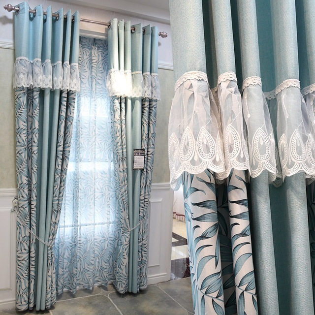 Curtains For Living Room Modern Garden Style Lace Curtain.2 Pieces/lot Free  Shipping