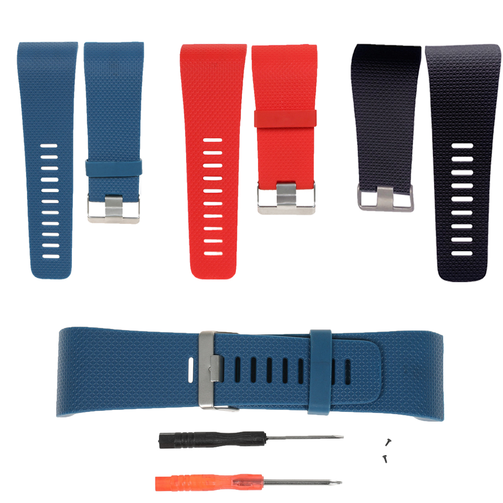 MASiKEN Replacement Watch Band Strap for Fitbit Surge Watchbands Smart Watch TPU Wristband L S Size with Tools Metal Buckle