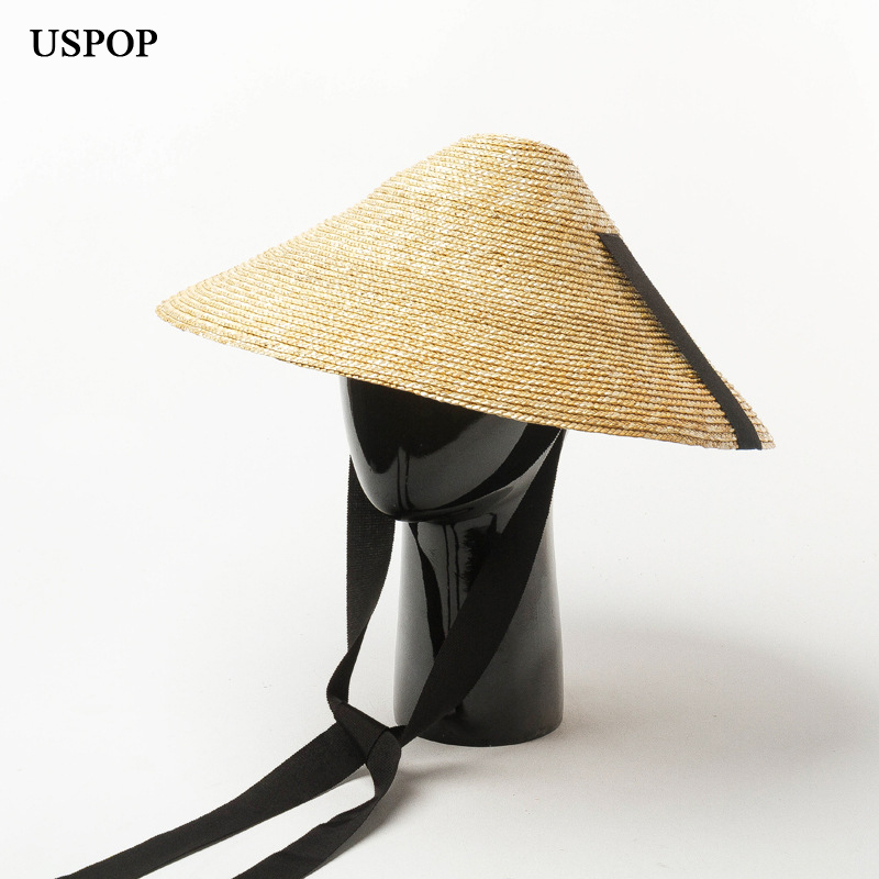 USPOP  New Sun Hat Women Conical Straw Hat Summer Wide Brim Wheat Straw Hat Female Lace-up Straw Beach Hat
