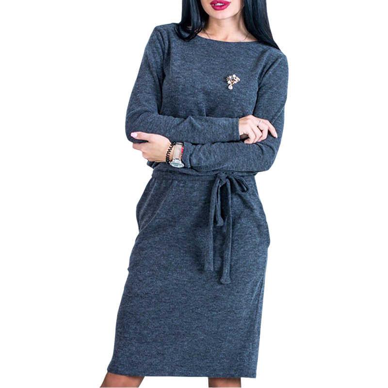 244aea47342 Зимние теплые для женщин миди платье Тонкий Весна 2018 с длинным рукавом  Свободные по колено повседневные