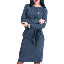 Casual Female Dresses Warm Winter Women Midi Dress Slim Spring 2018 Long Sleeve Loose Knee Length Bodycon Dress Female LX364