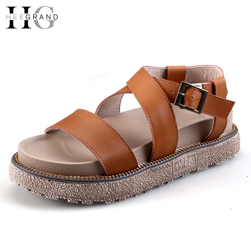 HEE GRAND 2017 Platform Gladiator Sandals Summer Style Shoes Woman Casual Creepers Soft Women Flats Shoes Size 35-43 XWZ3525 summer shoes woman platform sandals women soft leather casual open toe gladiator wedges women nurse shoes zapatos mujer size 8