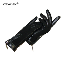 Guantes cálidos de piel de nobuk para mujer, guantes de piel auténtica con cremallera, decorados, para invierno