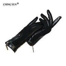 Warm vrouwen Handschoenen Nubuck Leer Echt Leer Handschoen Rits Versieren Winter Nieuwe Schapenvacht Echt Wol Gevoerde Lady Mittens