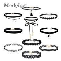 ZORCVENS Best Deal New Fashion 10Pcs/set Women Black Rope Choker Necklace Stretch Velvet Classic Gothic Lace Chain Necklaces Set