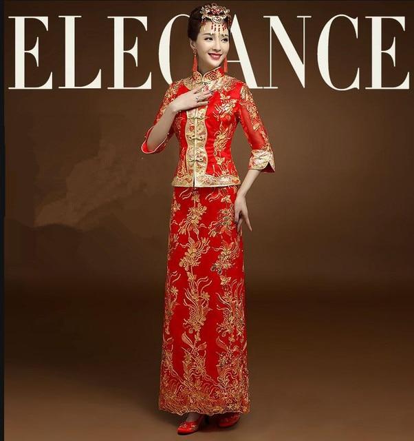 Di alta qualità Rosso Cinese Abito Da Sposa Cheongsam Femminile Oro Sottile  Vestito Tradizionale Cinese Donne 88a707cc80d