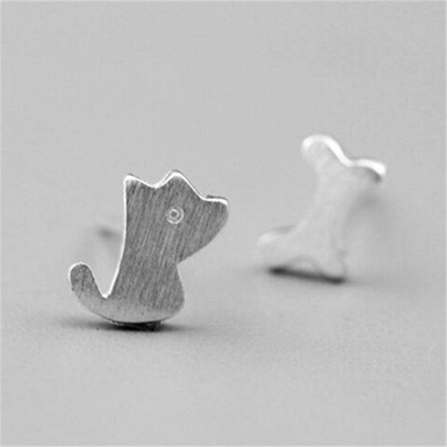 Fashion Dog Bone Earrings For Women Tiny Animal European Eat Stud