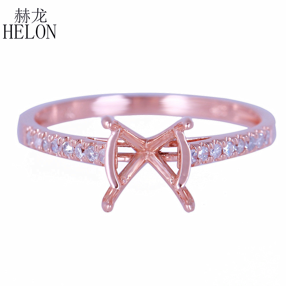 HELON 7-8mm Round Semi Mount Ring Setting Solid 14K Rose Gold Natural Diamonds Engagement Ring For Women Wedding Trendy Jewelry