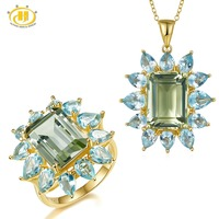 Hutang Green Amethyst Jewelry Sets Natural Gemstone Sky Blue Topaz 925 Solid Sterling Silver Ring Pendant Fine Fashion Jewelry