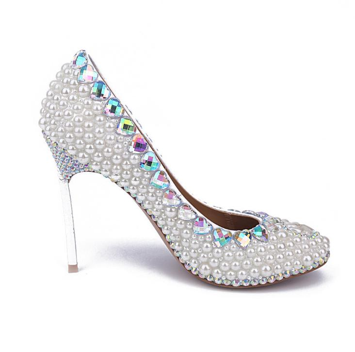 Europe and the United States star shoes with white pearl diamond round head high heels iron with fine single shoes wedding shoes 15cm club shoes big star with steel tube dancing shoes 34 and 46 yards high with the lacquer that bake single crystal shoes
