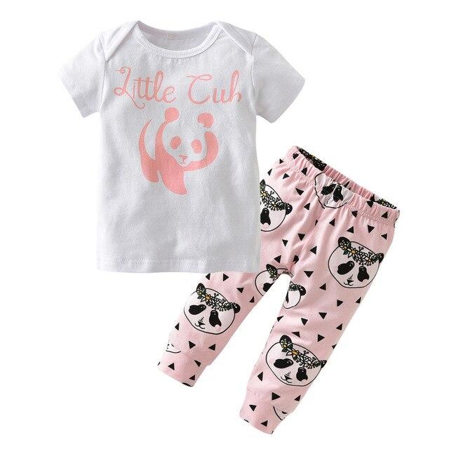 376847ef5 Newborn 100%Cotton Baby Girls Clothes Cute Cartoon Panda Casual Short  Sleeves T-shirt+Pants Toddler 2Pcs Baby Girl Clothing Set
