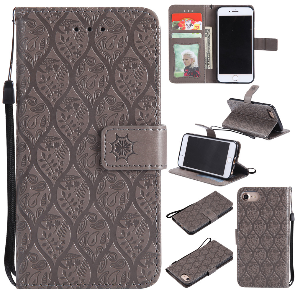 3D Embossed Rattan Flowers Flip Case For iPhone 7 8 PU Leather Silicone Luxury Wallet Holster Cover For iPhone 7 8 Case Shell