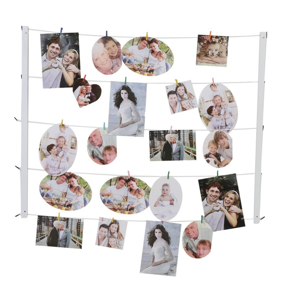 Giftgarden Multi Wall Hanging Picture Frames Set Collage Photos Display with 30 Clips & Twines Artworks Prints ...
