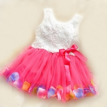 0-2 years summer girls dress rose petal hem color cute baby dresses
