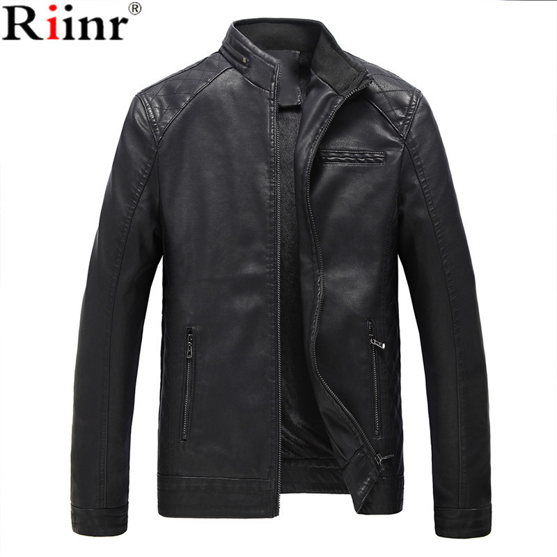 Riinr 2018 Brand New Arrival Mens Faux Leather Jackets High Quality Pu Leather Black Bro ...