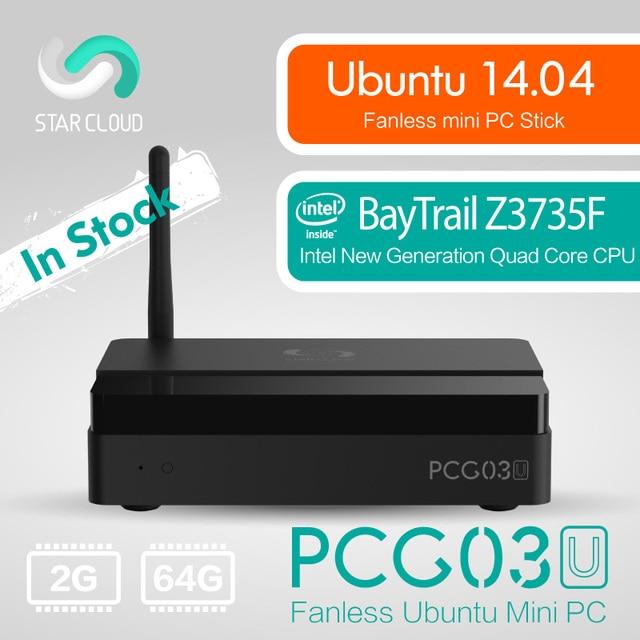 Fanless Ubuntu 14.04 Intel PC Stick Star Cloud PCG03U Mini PC Bay Trail Z3735F 2GB DDR3 64GB eMMC VGA HDMI LAN WiFi