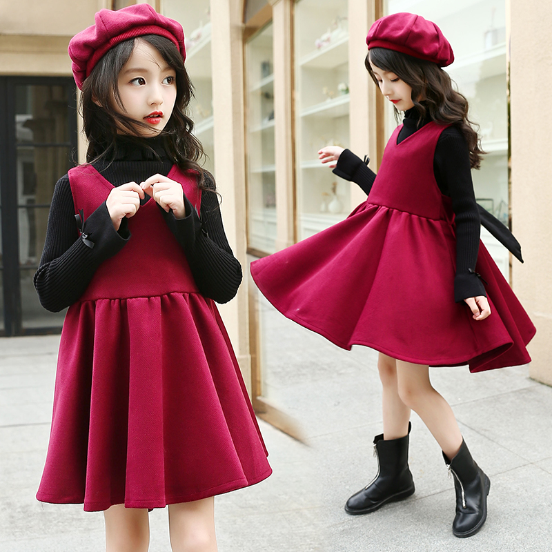 2pcs set red sleeveless winter dress kids party dresses for girls long wool dress teenage girls clothing new year 2018 girl gift 2018 new party girls clothing set girl