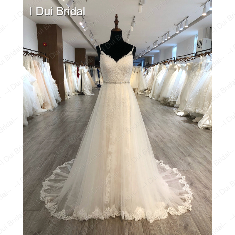 Image 3 - Spaghetti Strap Detachable Tulle Skirt Wedding Dress Lace Appliqued Bridal Gown-in Wedding Dresses from Weddings & Events