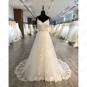 Image 3 - Spaghetti Strap odpinany spódnica z tiulu suknia ślubna koronkowa suknia ślubna