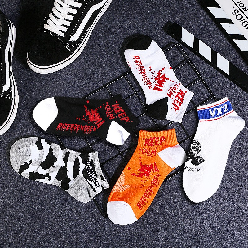 Men's Personality Casual Fashion Printing Socks Men's Socks Harajuku Funny Socks Men's Various Colors Combed Cotton Socks 2019