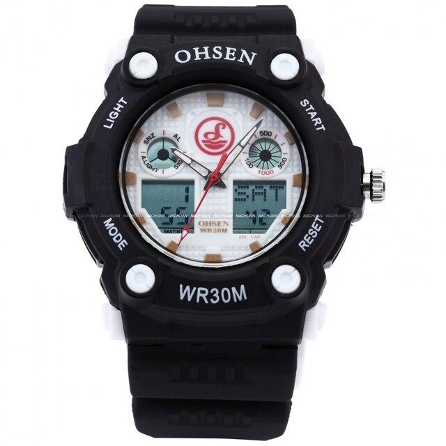 c8e4d617800 OHSEN Branco Preto Digital Analógico Dual Time Data Alarme Quartz  Chronograph Borracha Relogios Masculino Dos Homens