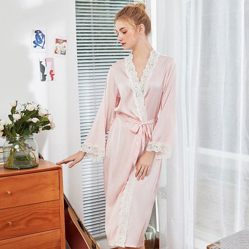 5a6a92b6 Vestido de encaje para el hogar ropa de primavera verano para mujer camisón  de satén de rayón ...