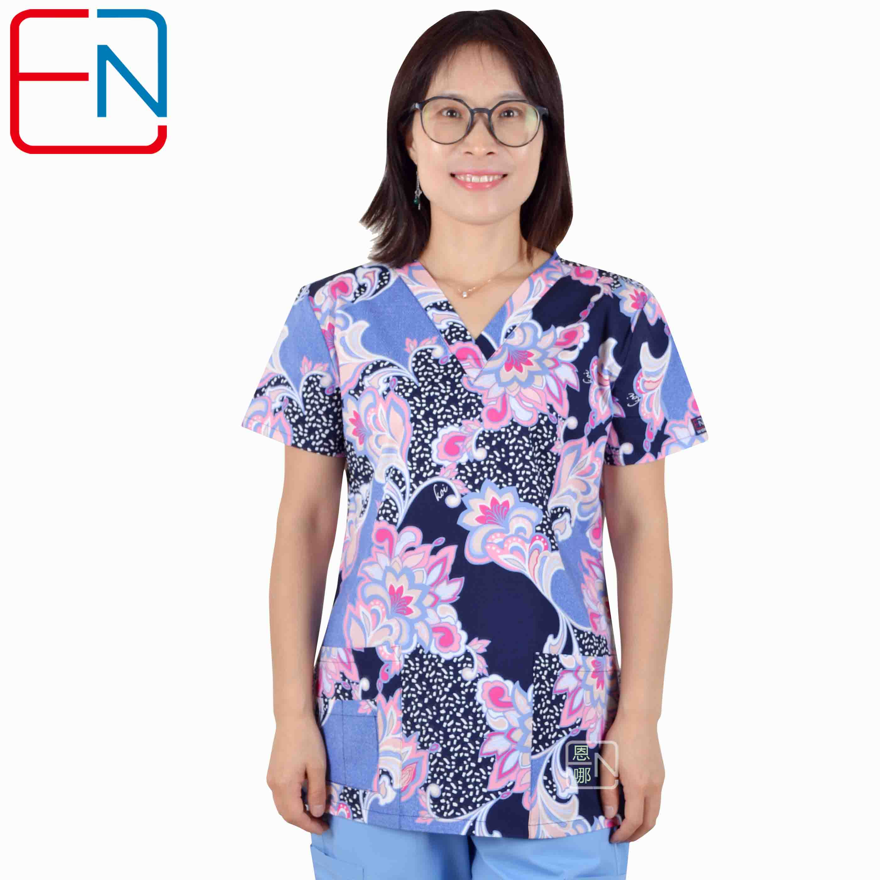 180505 NEW Hennar Women Scrub Top With V Neck 100% Cotton Surgical Scrubs Top Limited Surgical Scrub Tops