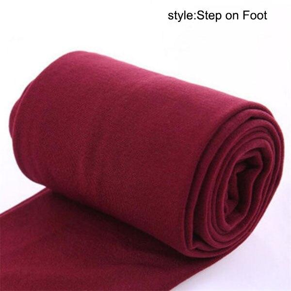 Осенне-зимние модные женские теплые флисовые зимние тянущиеся леггинсы с теплой флисовой подкладкой, тонкие теплые штаны BFJ55 - Цвет: Wine Step on Foot