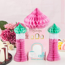 1 piece Pink Paper Honeycomb Castle  Princess Fairy Tale Dreamy Style Baby Girl Birthday Party Table Decoration