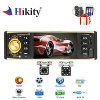 Hikity 1 din Car Radio 4 HD Audio Stereo Bluetooth AUX FM Radio Station Autoradio Support Camera Remote Control 4019B Autoradio