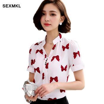 0a7b38851a1 SEXMKL плюс Размеры Топ женский белая блузка Для женщин летние Шифоновая  блузка 2018 короткий рукав рубашки с принтом женские офисные Топы работ.
