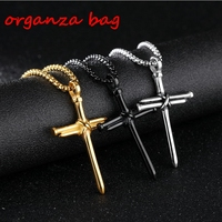 MIC 12pcs European and American Trade Fashion explosion models Nails Cross Alloy Charm Pendant men necklace DIY Jewelry 3 color